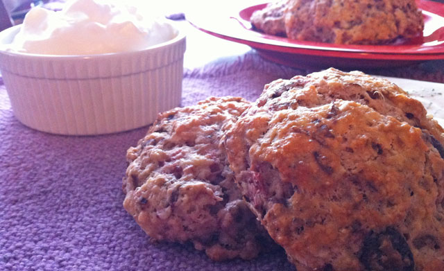 Strawberry Scones with Chocolate and Almonds