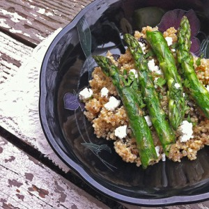 Quinoa with Dried Figs, Goat Cheese, and Asparagus