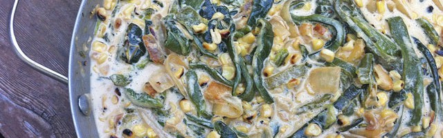 Rajas con Crema, Poblano Peppers in a Cream Sauce