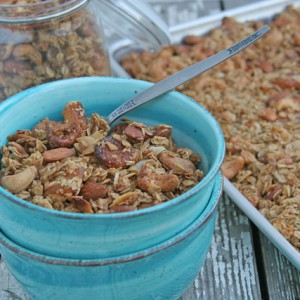 Granola with Cashews, Almonds, Dried Apricots, Maple Syrup, and Cardamom