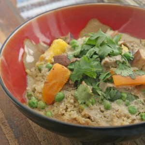 Green Curry with Pork, Peas, Eggplant,and Bell Peppers over Quinoa