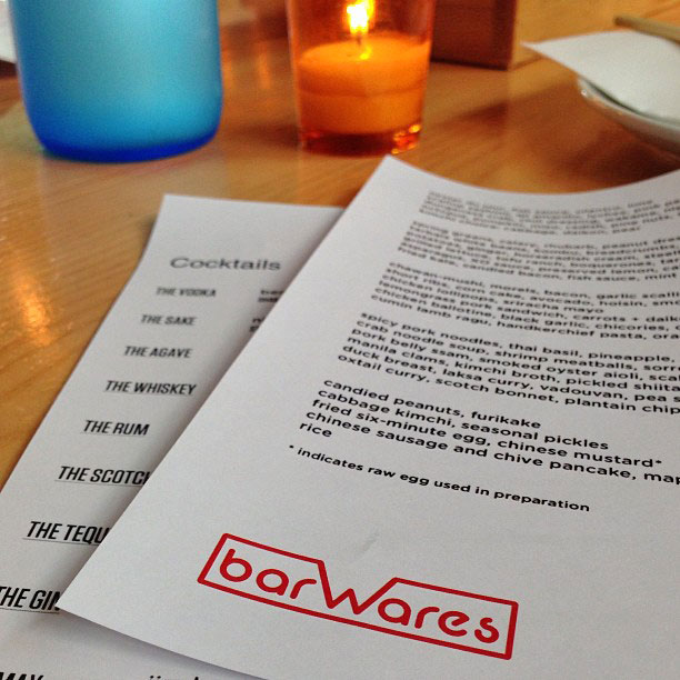 barewares menu, smallwarespdx menu, smallwares portland restaurant