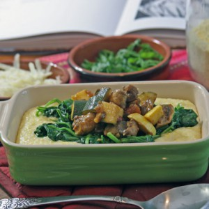 Creamy Polenta with Mushrooms, Squash, and Spinach
