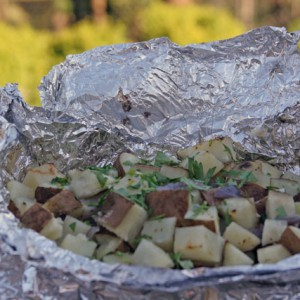 Foil Pouch Grilled Potatoes with Olive Oil, Lemon and Parsley