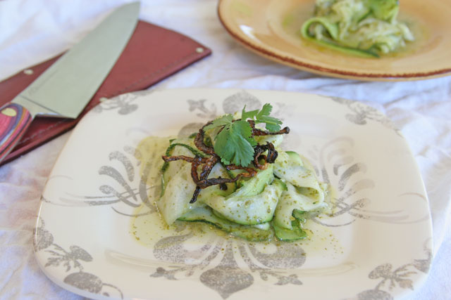 New West Knifeworks Review and Ribbon Zucchini Salad with Cilantro Lime Dressing