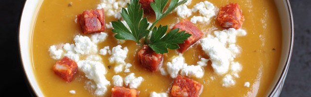 Butternut Squash Pear Soup with Chorizo and Goat Cheese:: not just baked