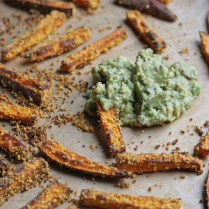 Cornmeal Crusted Sweet Potato Baked Fries with Avocado Lime Dip