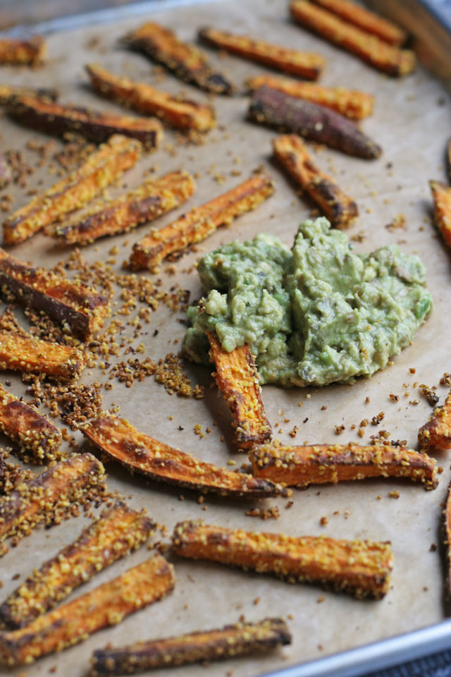 Cornmeal Sweet Potato Baked Fries with Avocado Lime Dip