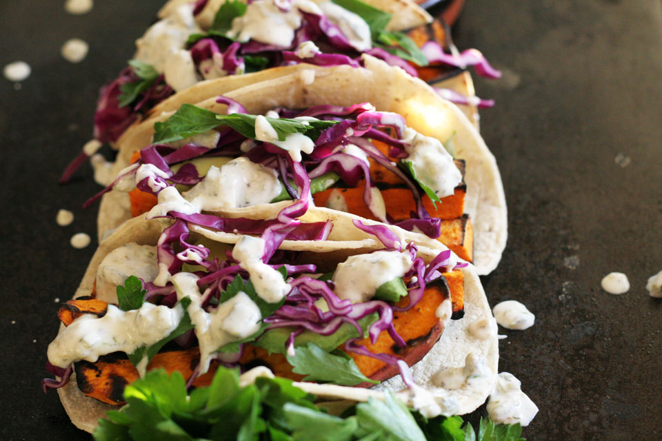 Grilled Yam Tacos with Roasted Poblano Yogurt Sauce