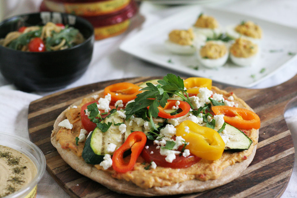 Grilled Vegetable Flat Bread Pizza with Sabra Hummus
