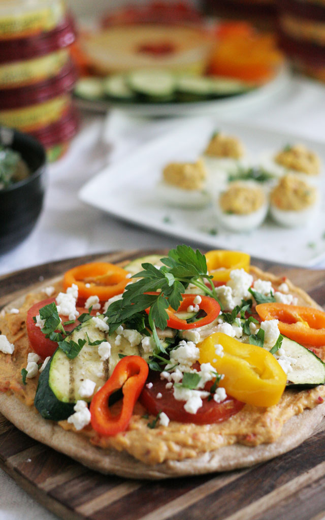 Grilled Vegetable Flat Bread Pizza with Sabra Hummus, and Other Awesome Ways to Use Hummus