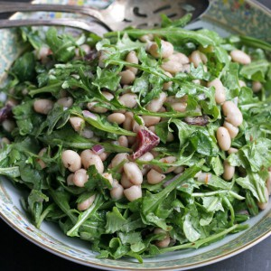 White Bean Arugula Salad with Blood Orange Dressing