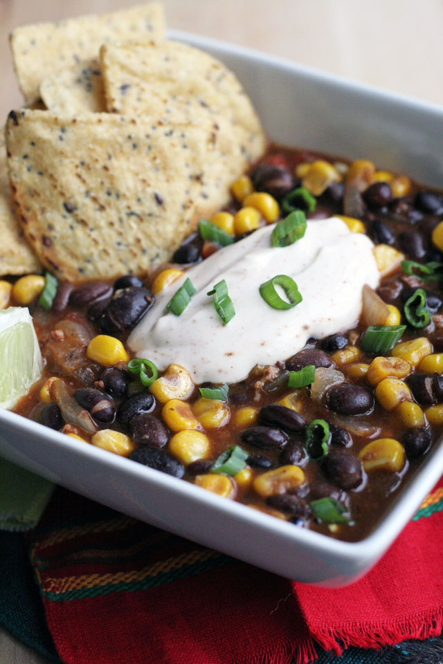 Chorizo Black Bean Soup with Chipotle Crema