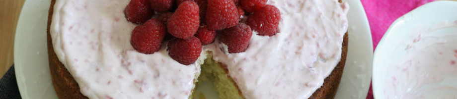 Lemon Cake with Raspberry Creme Fraiche Frosting