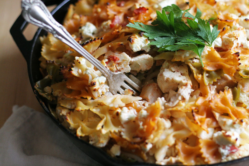 Vegetable Pasta Bake with Goat Cheese