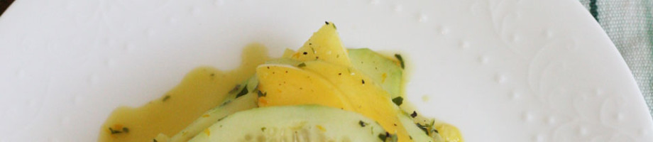 Cucumber, Mango, Pineapple Salad with Parsley, Orange Dressing