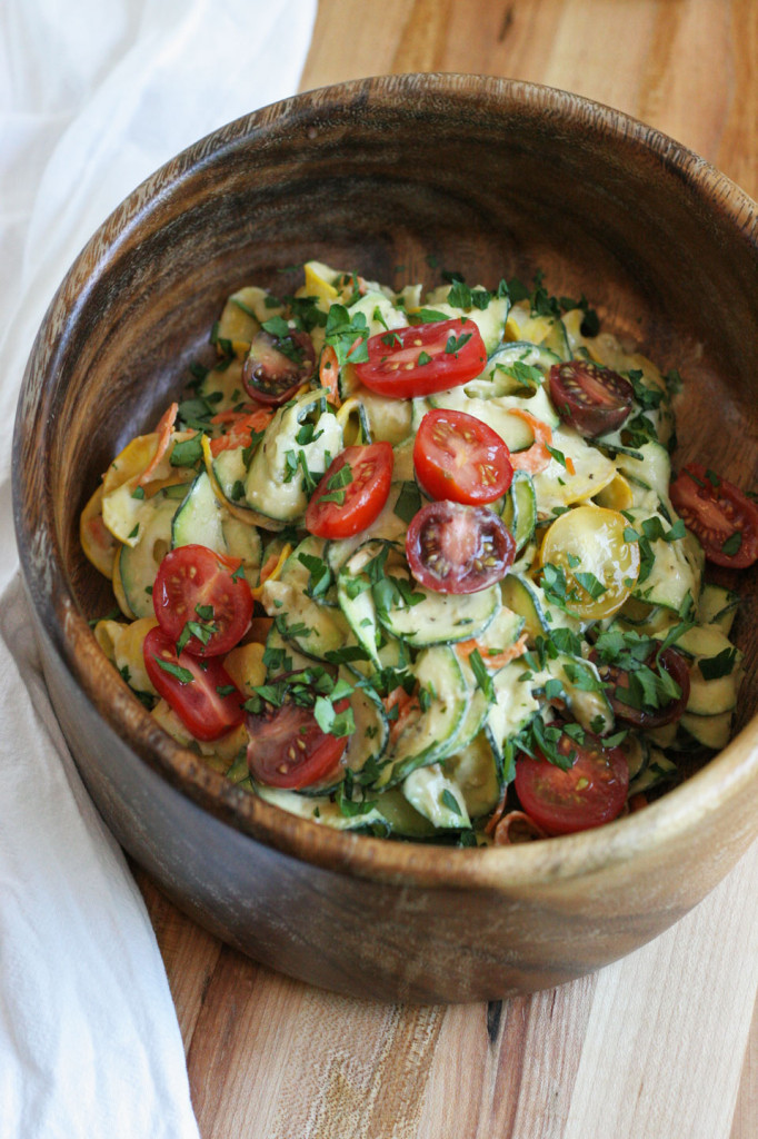 Zucchini Noodles, Heirloom Tomatoes and Pine Nut Hummus Dressing
