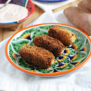 Sweetpotato Manchego Cheese and Chorizo Croquette with Paprika Yogurt Sauce