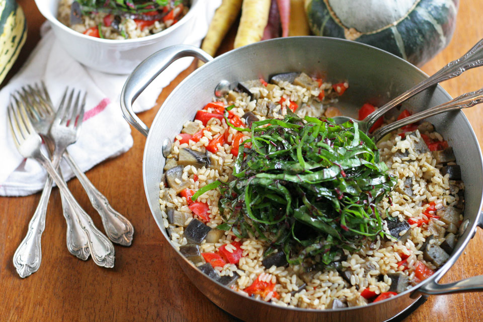 One Pot Brown Rice with Vegetables and Goat Cheese