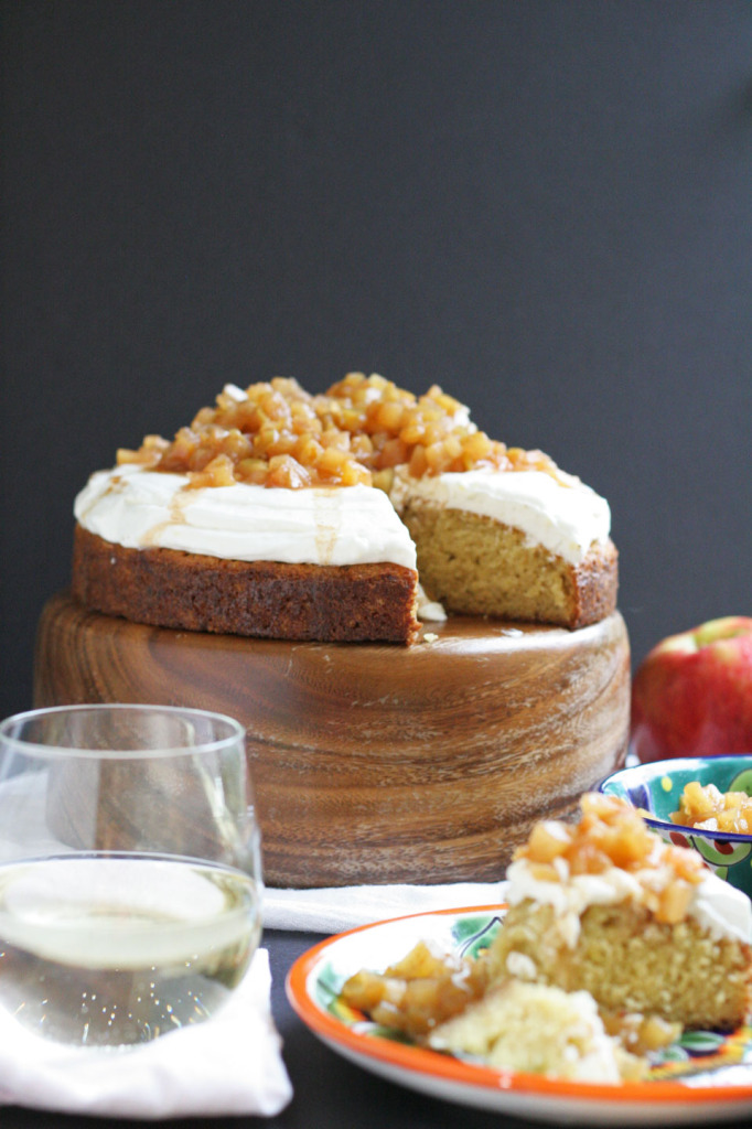 Buttermilk Cake, Brie Frosting, with Spiced Apple Compote