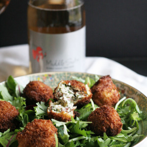 Goat Cheese Bacon Croquettes with Pink Bubbly