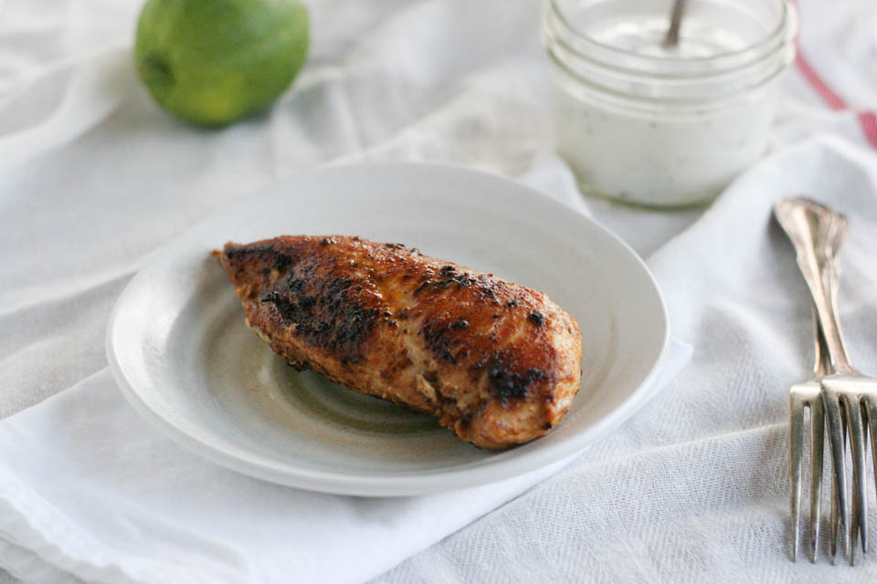 Ancho Chile Chicken with Lime Yogurt Sauce