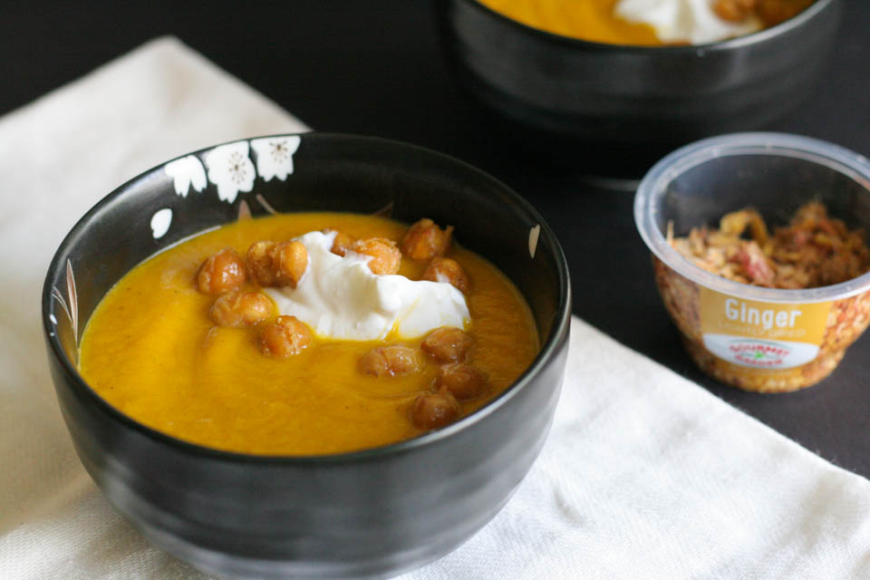 Quick Roasted Carrot Soup with Ginger Chickpeas