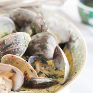Herb Coconut Milk Steamed Clam
