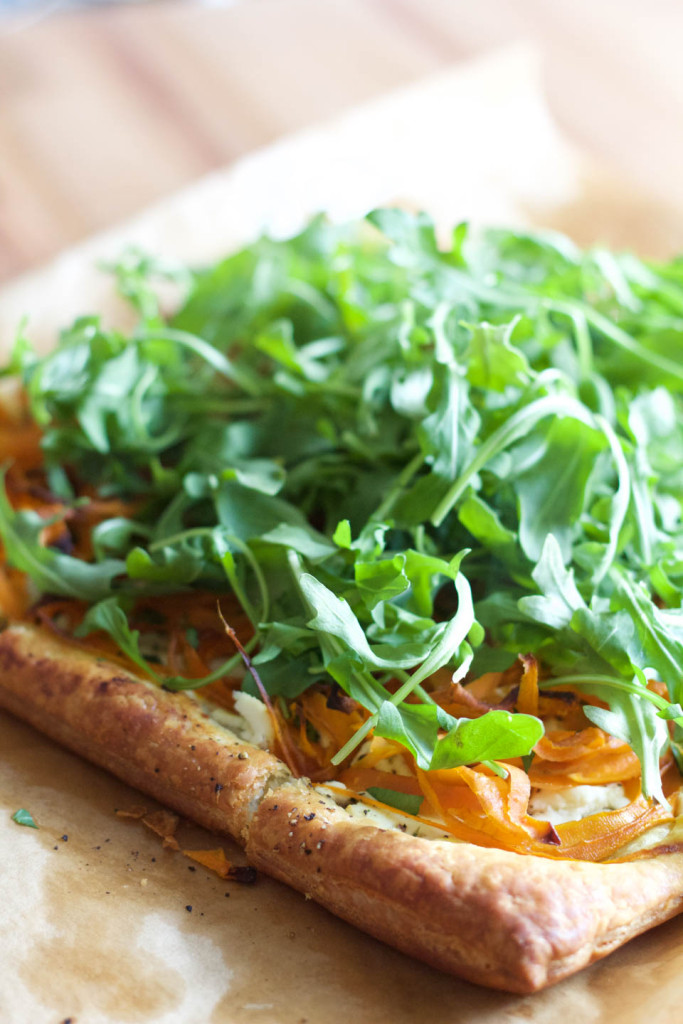 Goat Cheese Carrot Tart with Arugula