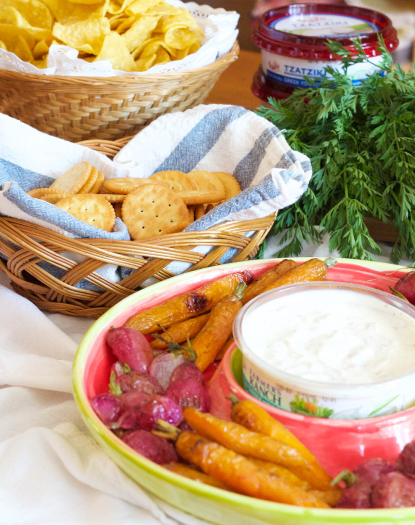 Roasted Radishes and Carrots with Greek Yogurt Dip