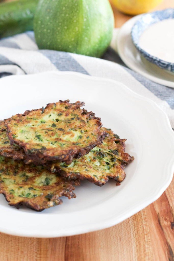 Zucchini Herb Fritters with Chipotle Buttermilk Sauce