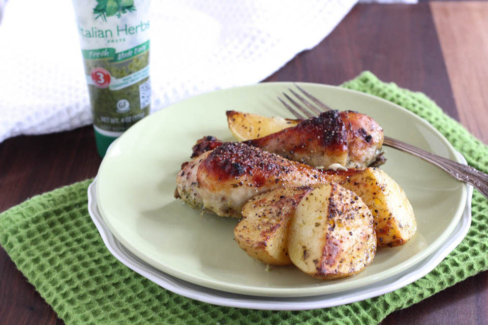 Roasted Herb Chicken and Potatoes - not just baked