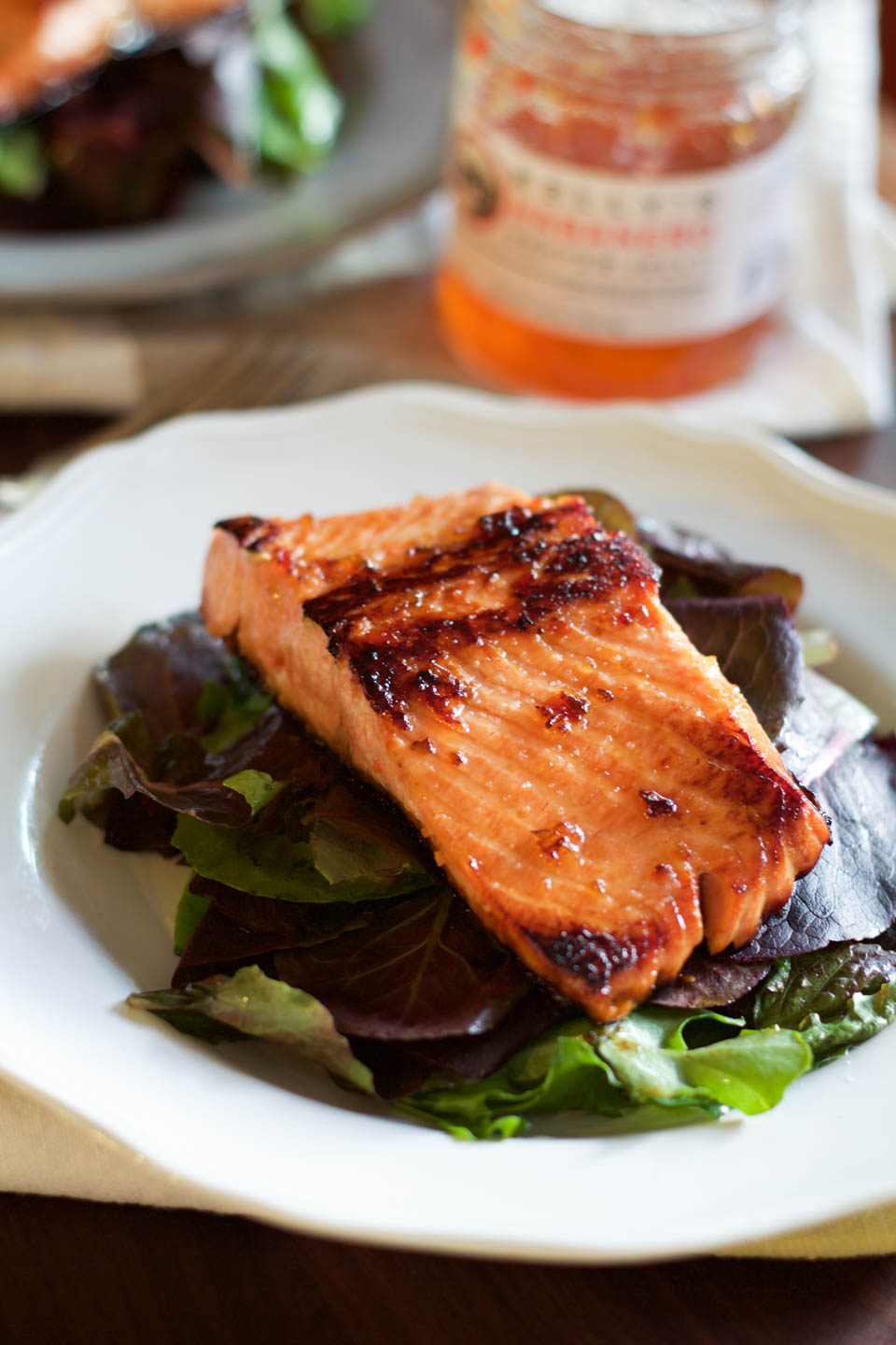 a0d8afc94ab3 Spicy Pepper Jelly Glazed Salmon - not just baked