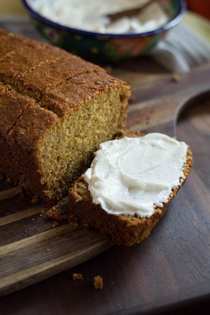 Whole Wheat Cornmeal Cake with Honey Labneh