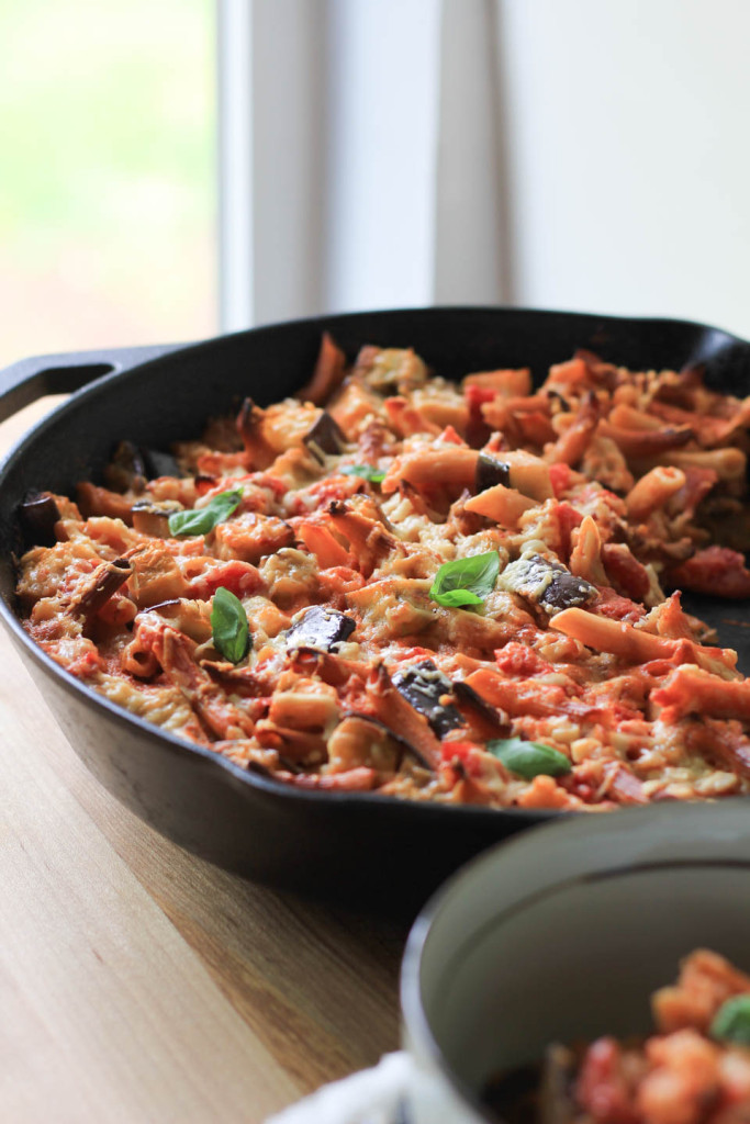 Lentil Pasta Bake with Eggplant Tomato and Goat Cheese