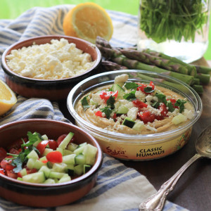 Cucumber Tomato Feta Hummus and National Hummus Day