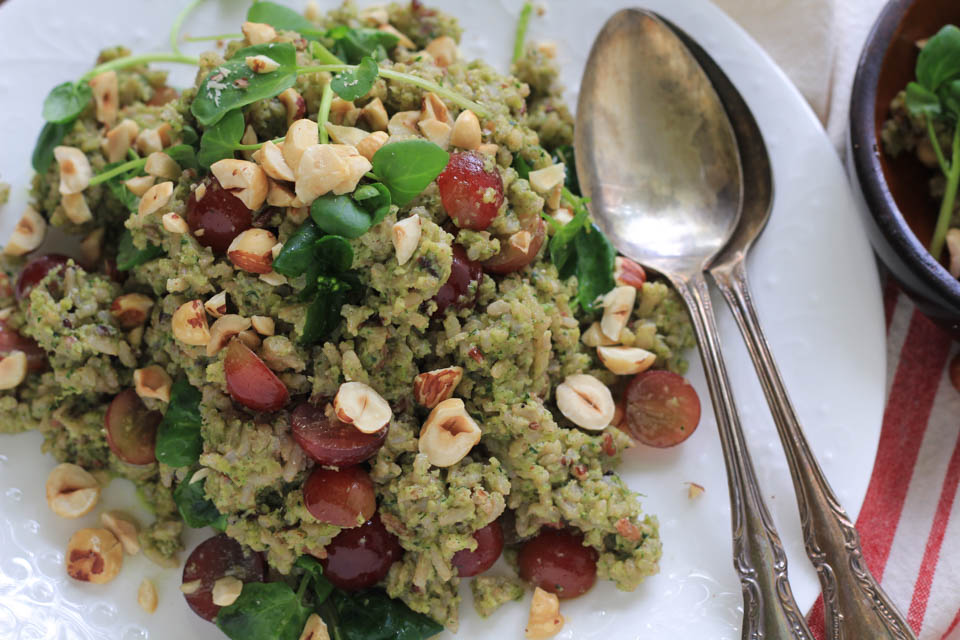 Toasted Hazelnut Pesto Wild Rice Salad