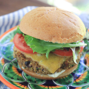 Black Bean Freekeh Poblano Veggie Burger