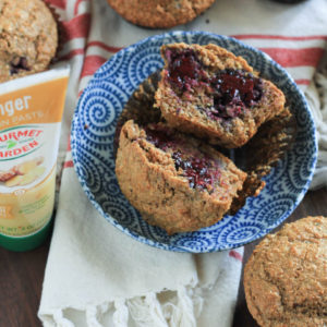 Super Moist Blackberry Ginger Bran Muffins