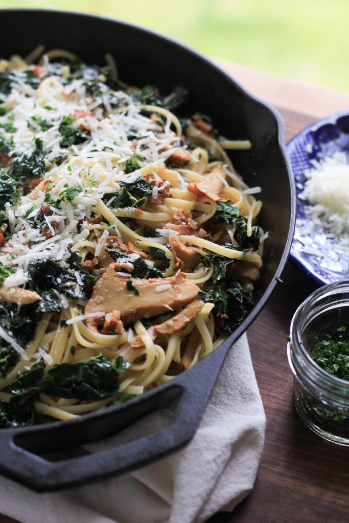 Linguine with Bacon, Kale, and Chanterelles