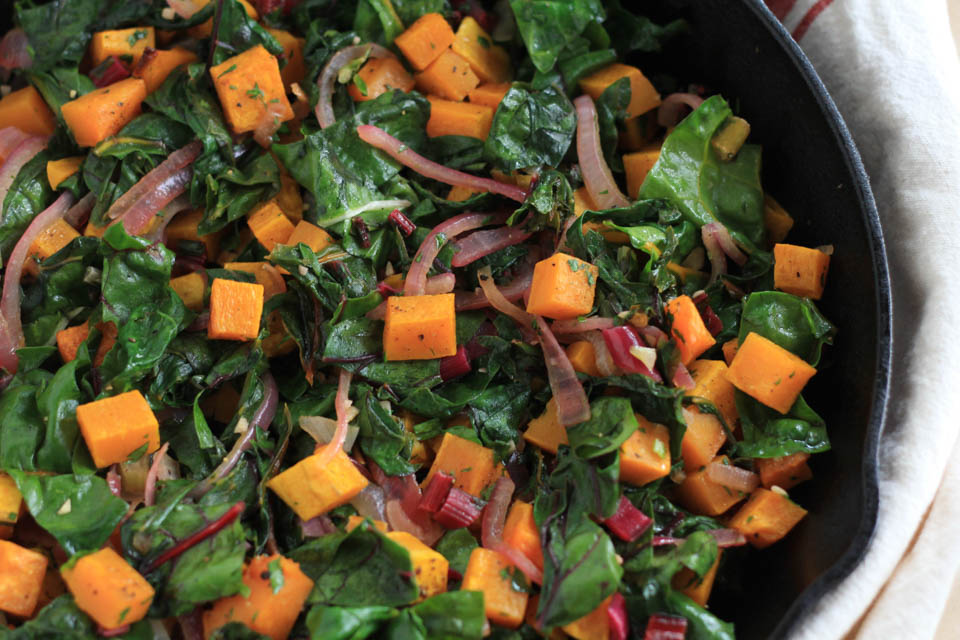 Roasted Butternut Squash with Sautéed Chard