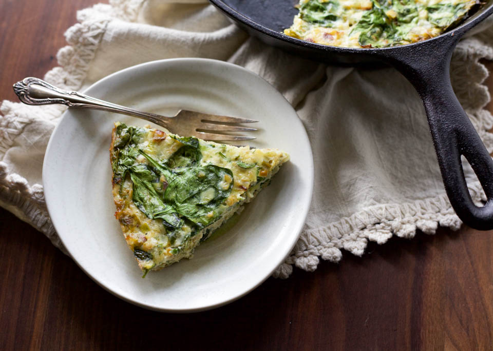 Freekeh Spinach and Leek Frittata