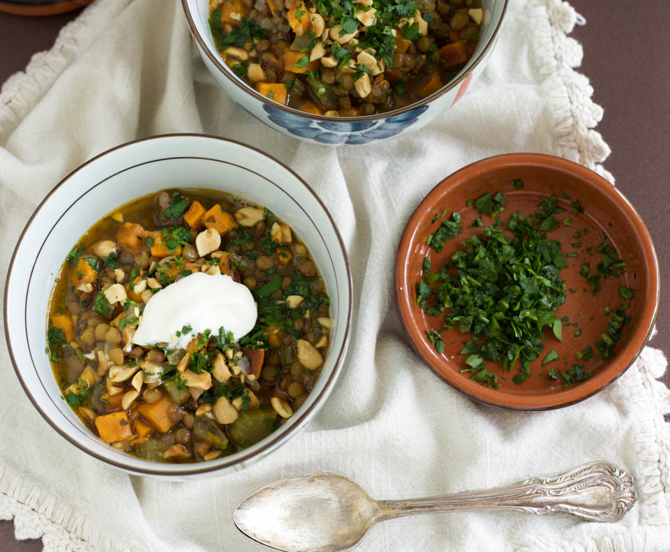 Thai Peanut Sweet Potato Lentil Soup