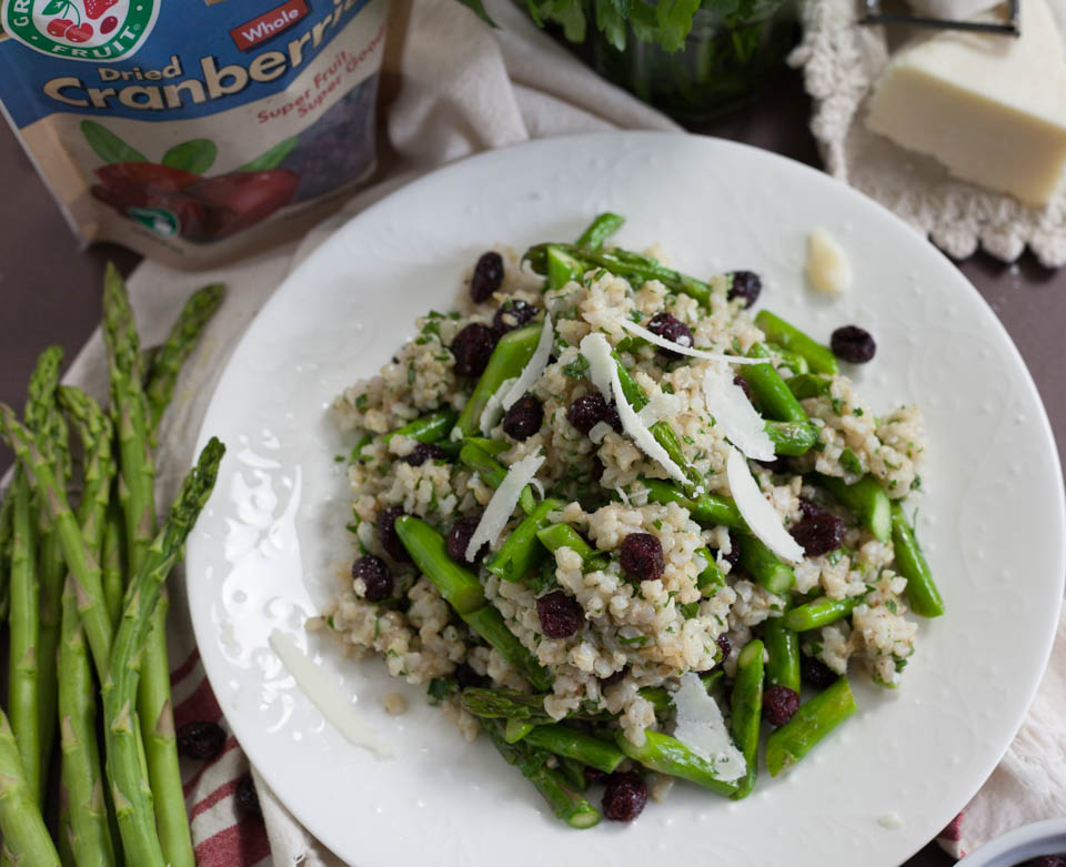 Brown Rice Spring Salad with Asparagus and Dried Cranberries