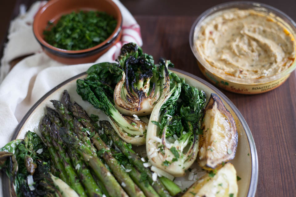 Charred Vegetables with Hummus