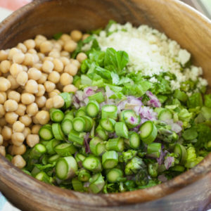 Spring Chickpea Salad with Honey Garlic Lime Vinaigrette